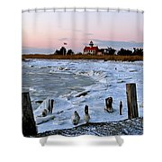 Winter At East Point Lighthouse  Shower Curtain