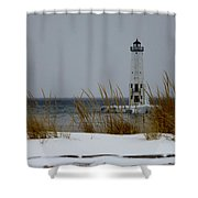 Winter At Frankfort Lighthouse Shower Curtain
