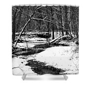 Winter At Pedelo Black And White Shower Curtain