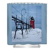 Winter At South Haven Lighthouse Shower Curtain