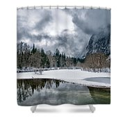 Winter At Swinging Bridge Shower Curtain