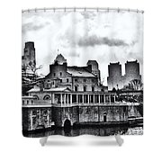Winter At The Fairmount Waterworks In Black And White Shower Curtain