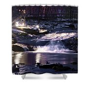 Winter At The Woodlands Waterfall In Wilkes Barre Shower Curtain