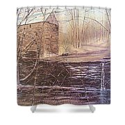 Winter At Wolf Pen Mill Shower Curtain