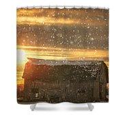 Winter Barn At Sunset Shower Curtain