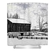 Winter Barn Impasto Version Shower Curtain