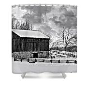 Winter Barn Monochrome Shower Curtain