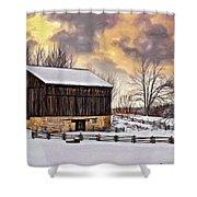 Winter Barn - Paint Shower Curtain