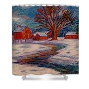 Winter Barn Scene Shower Curtain
