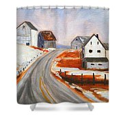 Winter Barns Shower Curtain