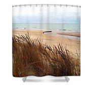 Winter Beach At Pier Cove Shower Curtain