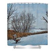 Winter Bench At Walnut Creek Lake Shower Curtain