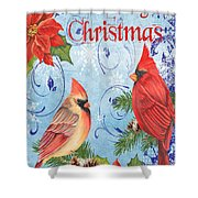 Winter Blue Cardinals-merry Christmas Card Shower Curtain