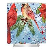 Winter Blue Cardinals-peace Card Shower Curtain