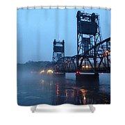 Winter Bridge In Fog Shower Curtain