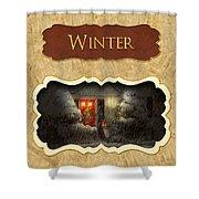 Winter Button Shower Curtain