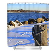 Winter By The Bay Shower Curtain