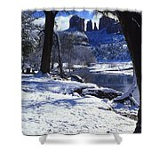 Winter Cathedral Rock Shower Curtain