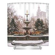 Winter - City Hall Fountain - New York City Shower Curtain
