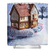 Winter Cottage In Gloved Hand Shower Curtain