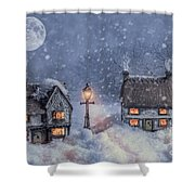 Winter Cottages In Snow Shower Curtain