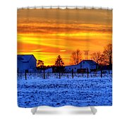 Winter Country Sunset Shower Curtain