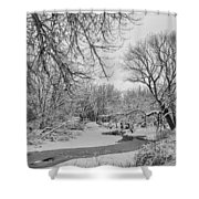 Winter Creek In Black And White Shower Curtain
