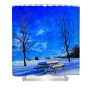 Winter Day On Canvas Shower Curtain