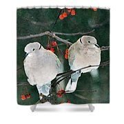 Winter Doves Shower Curtain