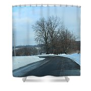 Winter Drive In The Country Shower Curtain