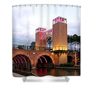 Winter Evening Lights On The Woodlands Waterway Shower Curtain