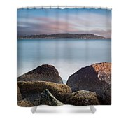 Winter Evening On Humboldt Bay Shower Curtain
