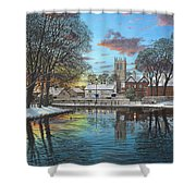 Winter Evening Tickhill Yorkshire Shower Curtain