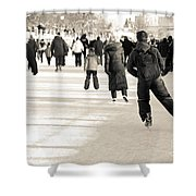 Winter Exercise Shower Curtain