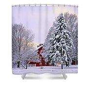 Winter Farm Scene Shower Curtain