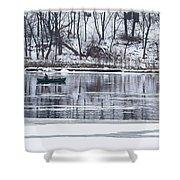 Winter Fishing - Wisconsin River Shower Curtain