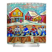 Winter Fun At Hockey Rink Magical Montreal Memories Rink Hockey Our National Pastime Falling Snow   Shower Curtain