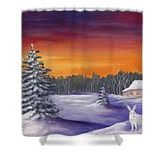 Winter Hare Visit Shower Curtain