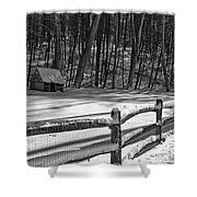 Winter Hut In Black And White Shower Curtain