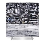 Winter Ice Lake Scene Hopatcong Covered Port Shower Curtain