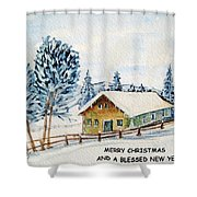 Winter Idyll With Text Shower Curtain