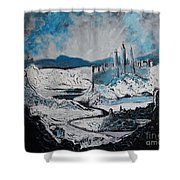 Winter In Ancient Ruins Shower Curtain