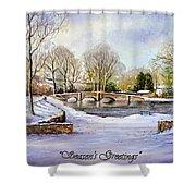 winter in ashford Derbyshire Shower Curtain