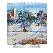 Winter In Lourmarin Shower Curtain