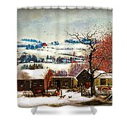 Winter In The Country Folk Art Shower Curtain