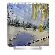 Winter In The Park Shower Curtain