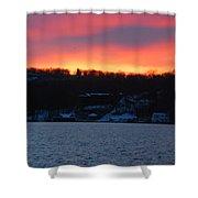 Winter Lake Sunset Shower Curtain