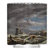 Winter Landscape With Figures On A Path Shower Curtain