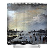 Winter Landscape With Skaters Shower Curtain by Gianfranco Weiss