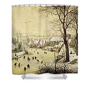 Winter Landscape With Skaters And A Bird Trap Shower Curtain